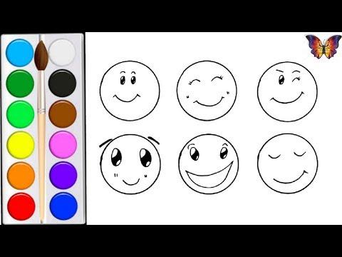 Как нарисовать СМАЙЛИК / мультик раскраска СМАЙЛИК  для детей /Раскраски Малышам