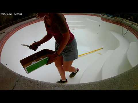 Applying Ramuc EP epoxy pool paint for fiberglass swimming pools.