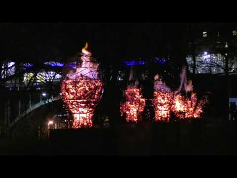 SPECTRA Aberdeen's Festival of Light 2017 with lighting displays & giant spiders in churchyard