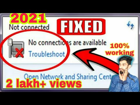 """""""NOT CONNECTED INTERNET"""" No Connections Are Available Window 7 , 8 1, 10 2020 by  Tech Raja"""