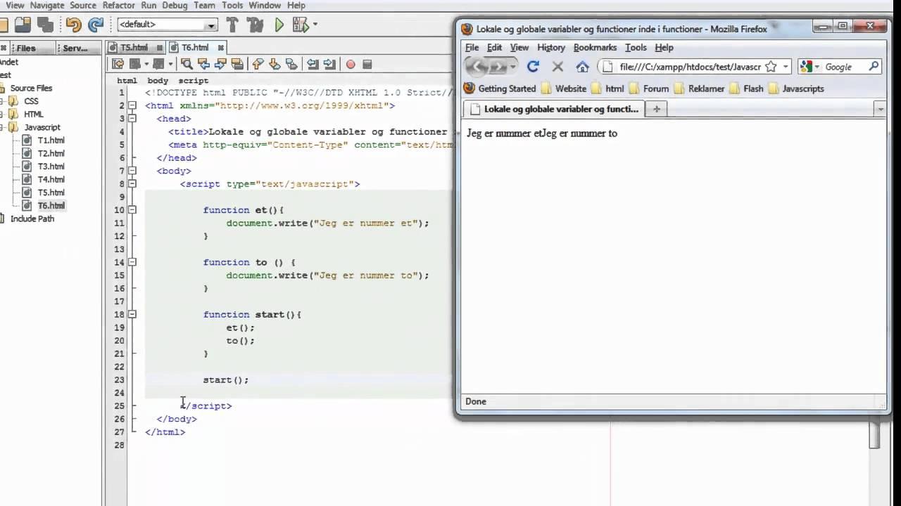 Javascript kursus /  tutorials for begyndere #6 Lokale og globale variabler