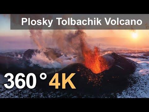 360°, Eruption of Plosky Tolbachik Volcano, Kamchatka, Russia, 4K aerial video