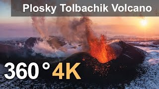 360°, Eruption of Plosky Tolbachik Volcano, Kamchatka, Russia, 4K aerial video
