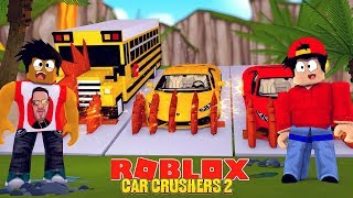 ROBLOX CAR CRUSHERS 2 - DONUT & ROPO CRUSH A SUPER CAR AND A SCHOOL BUS AT THE SAME TIME!!