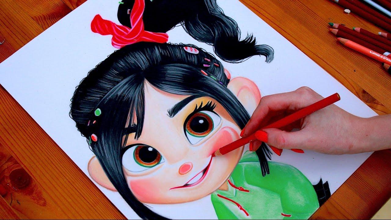 Wreck It Ralph Princess Drawing Vanellope Von Schweetz Youtube