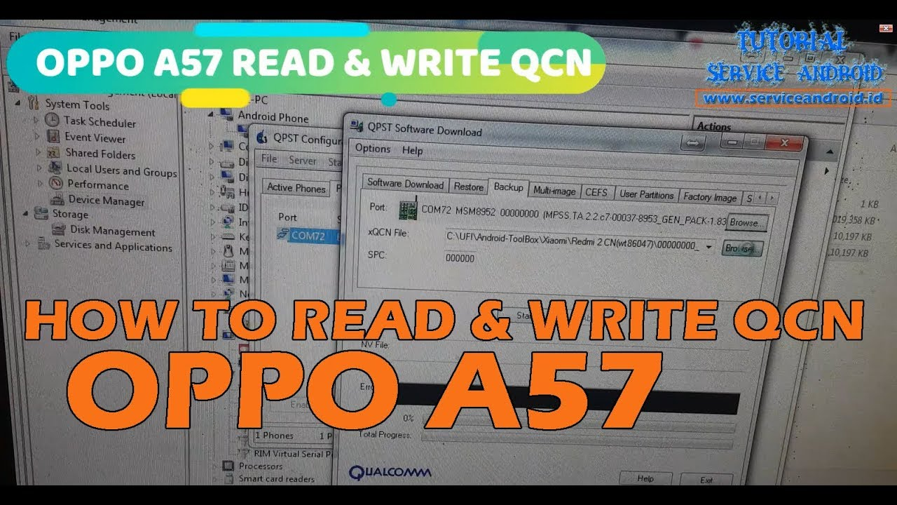 How To Read & Write QCN File on Oppo A57 with QPST