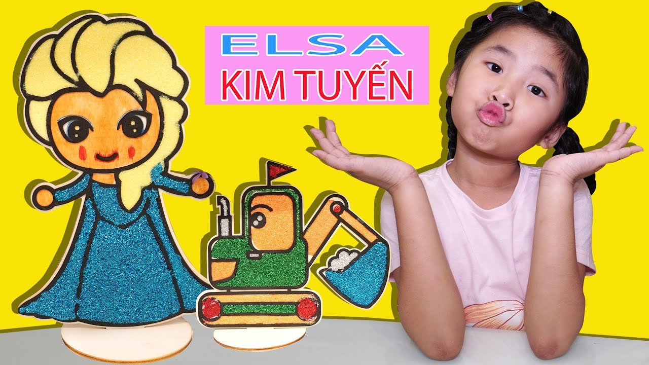 Bé Bún Tô Màu Kim Tuyến Elsa Ánh Kim ♥ Bún Bắp Tô Màu ♥