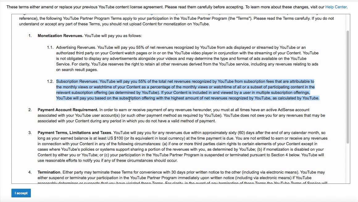 Youtube Partner Program Terms 2015 New Subscription Monetization