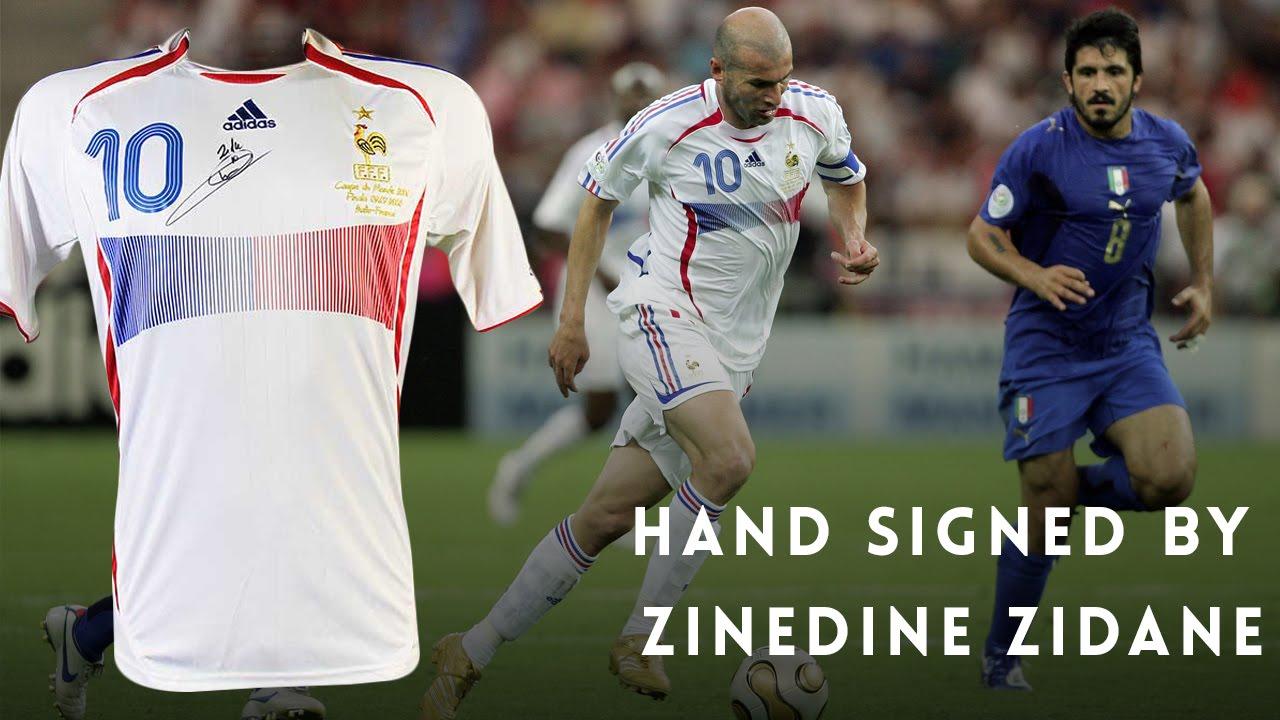 Zinedine Zidane Signed France World Cup Final Jersey - YouTube 7a2a57781