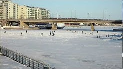 People Ice Fishing - Pitkäsilta Bridge, Helsinki Finland