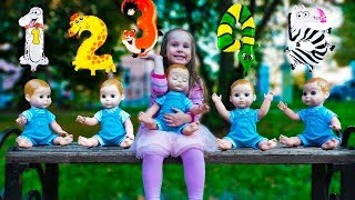 Baby doll and Yulya learn to count Songs for kids Educational video with Kroshka Ю