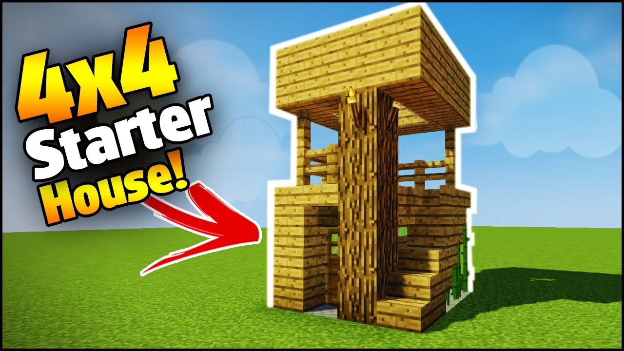 Minecraft 4x4 starter house tutorial how to build a for How to go about building a house