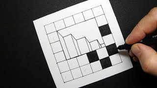 Stairs to the Deep - Trick Art on Paper - Drawing an Optical Illusion