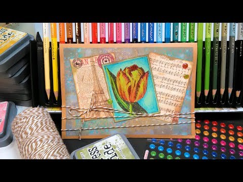 Colored Pencil Tips & Inky Background on Kraft Stamp School!