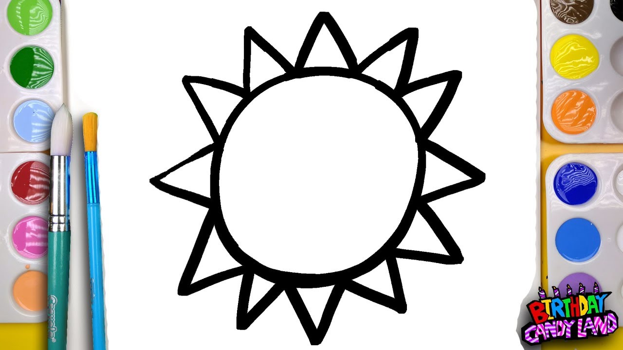 How to Draw and Paint a Bright Sun Coloring Page for Kids to Learn ...