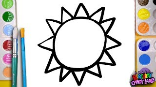 How to Draw and Paint a Bright Sun Coloring Page for Kids to Learn Painting