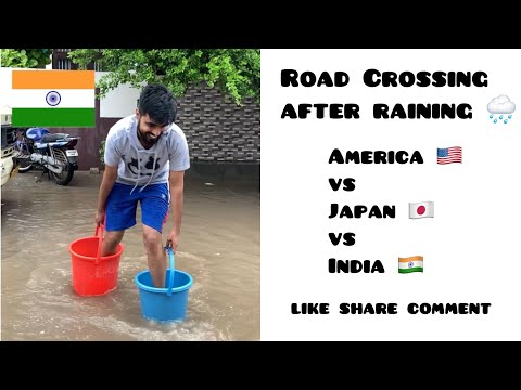 America 🇺🇸 vs Japan 🇯🇵 vs India 🇮🇳 ~ Road Cross after Raining 😂 ~ Dushyant Kukreja #shorts