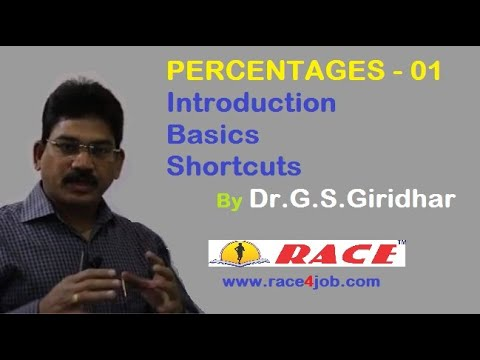 Percentages:  Introduction, Basics, Tips & Tricks by Dr. G S Giridhar - Part -1