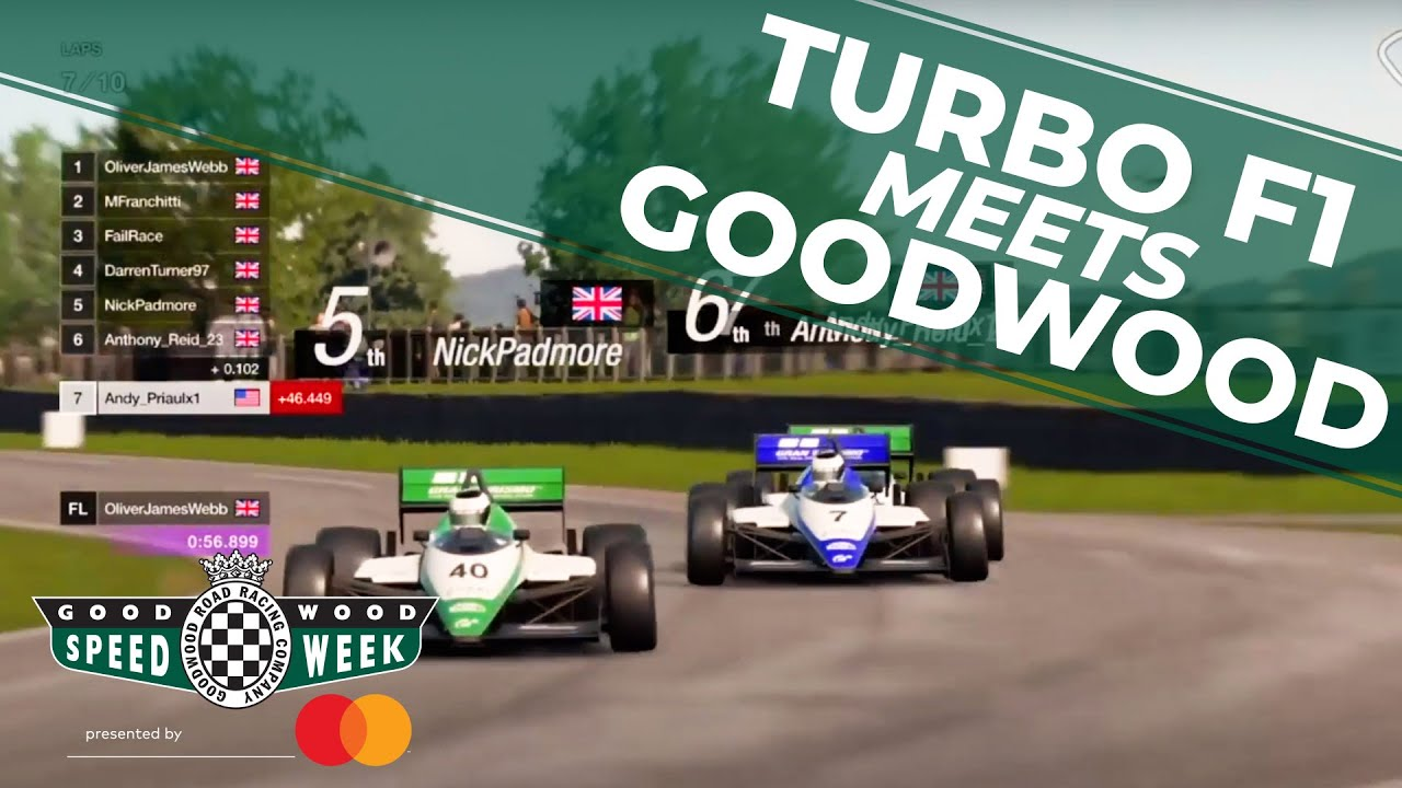 Video: Turbo F1 cars fight at virtual Goodwood