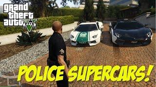 POLICE SUPERCARS! - Lamborghini Aventador & Bugatti Veyron (GTA 5 PC Mods)
