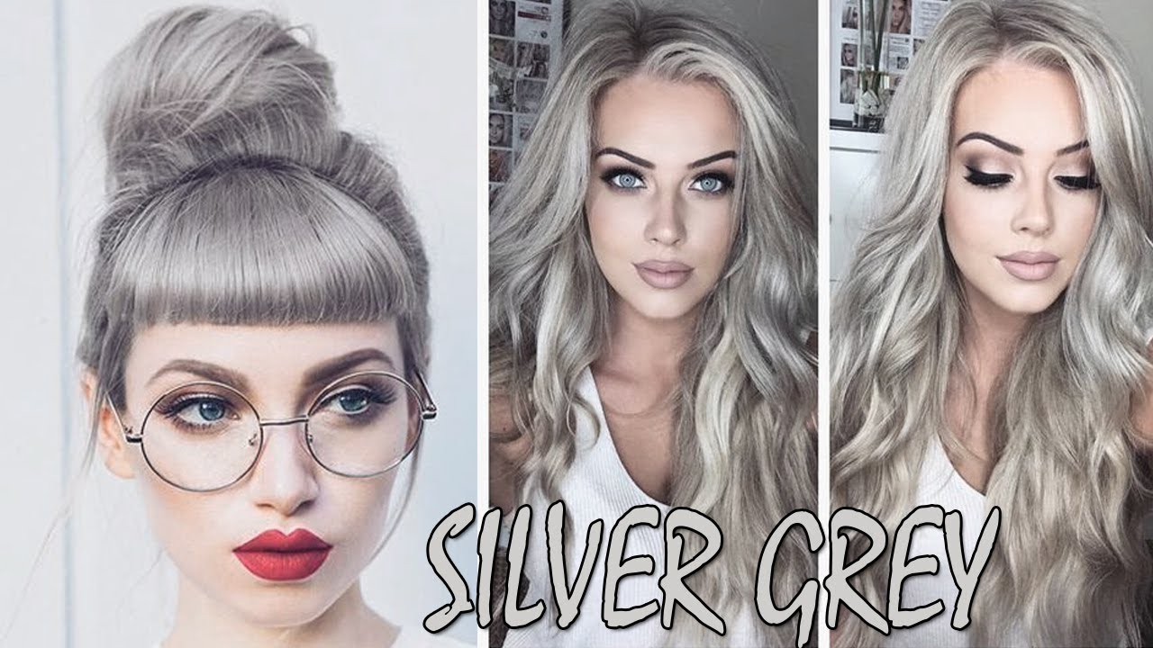 2018 Hairstyle For Dark Hair Color: SILVER HAIR COLOR IDEAS 2018 💙 SILVER GREY HAIR