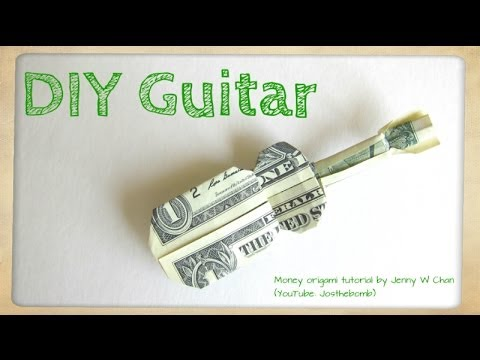 Diy How To Fold Money Origami Guitar 1 One Dollar Guitar Paper