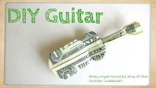 DIY How to Fold Money Origami Guitar - $1 One Dollar Guitar - Paper Guitar Paper Crafts