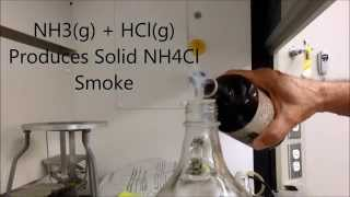 the reaction of hcl g with nh3 g to produce nh4cl smoke