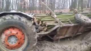 Made in Romania tractor mic Remorca mare Tractor rasturnat in Padure   remorca cu lemne in padure -