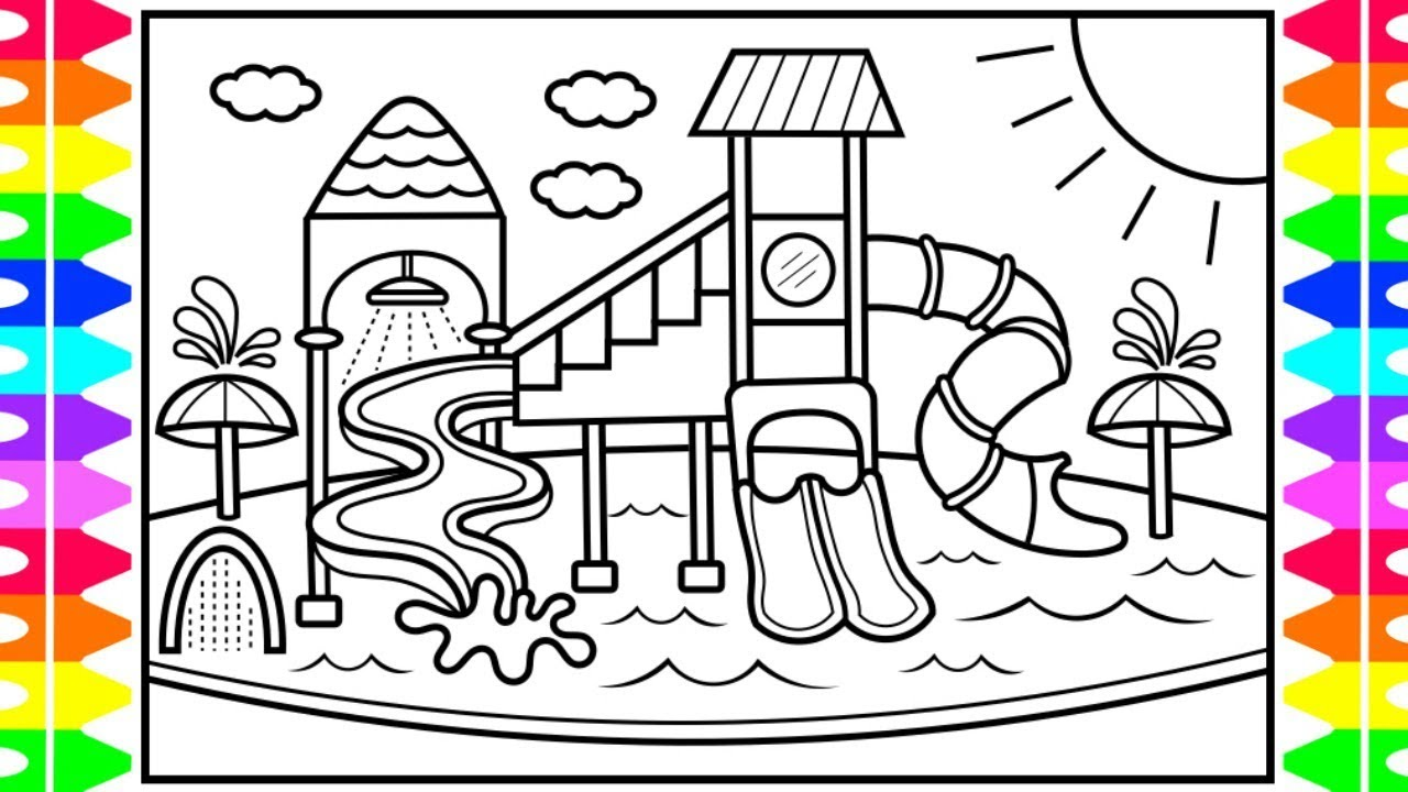 How To Draw A Playground Water Park For Kids Playground Drawing And Coloring Pages For Kids Youtube