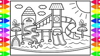 How to Draw a Playground Water Park for Kids ☀️🌈💦 Playground Drawing and Coloring Pages for Kids