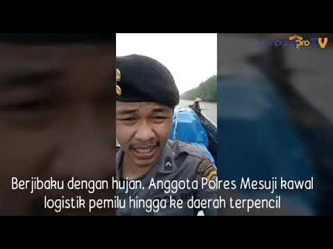 VIDEO: Terobos Daerah Terpencil, Anggota Polres Mesuji Berjibaku Kawal Logistik Pemilu