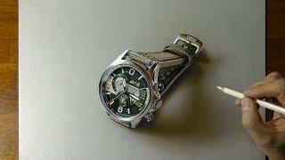 3D Drawing of the AV-4056 watch from AVI-8