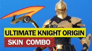 Fortnite Gold Ultimate Knight Origin Skin Combo with Red Streak Pick Axe