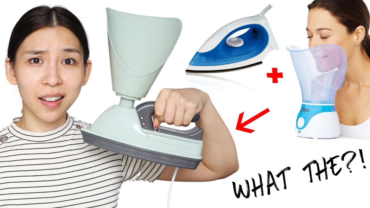 Weird Facial Steamer & Iron. Does It Work?? TINA TRIES IT