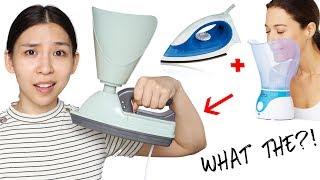Weird Facial Steamer & Iron. Does It Work?? TINA TRIES IT
