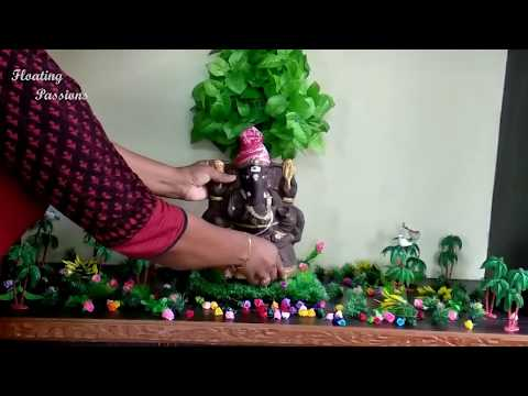 How to make eco friendly Ganesh decoration at home | Ganpati decoration ideas for home | गणपति सजावट