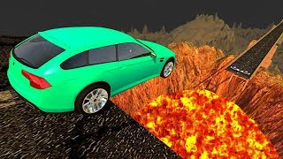 Beamng drive - Open Bridge Crashes over Volcano #1 (Jumping into Volcano Crashes)