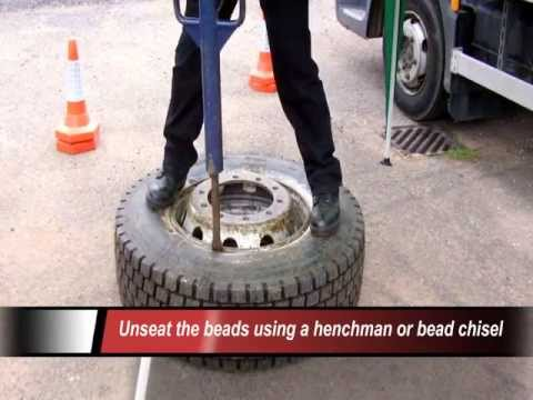 Removing a Tubeless Truck Tyre