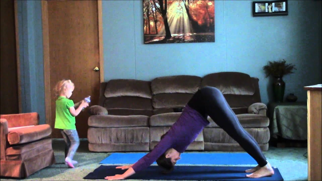 Living room yoga no excuse morning flow youtube for Living room yoga
