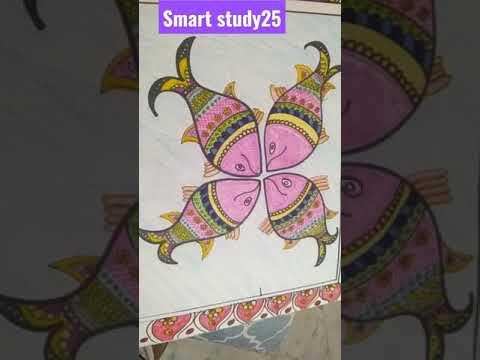 class 7: art holiday homework folk art: Madhubani painting