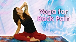 Yoga for Back Pain, 15 Min Class | 5 Poses for Spinal Health, Neck Pain, Gentle Stretches, Beginners