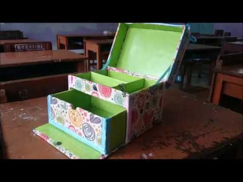 Tutorial membuat Kotak Make Up Dari Kardus Bekas