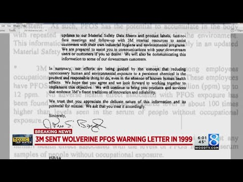 3M sent Wolverine PFOS warning letter in 1999