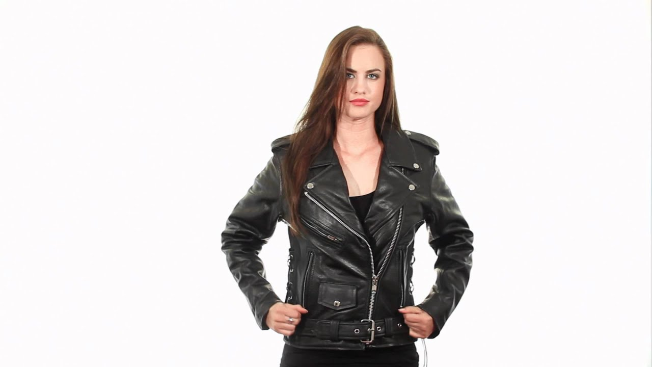 B7802 Xelement Women's 'Classic' Black Leather Jacket at LeatherUp ...
