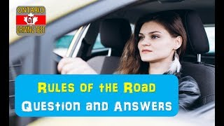 Rules of the Road 100 Question and Answers Ontario G1 Test