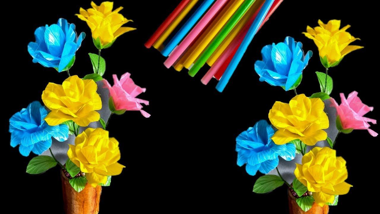 Bunga Mawar Dari Sedotan Kreatif How To Make Rose With Straw Youtube