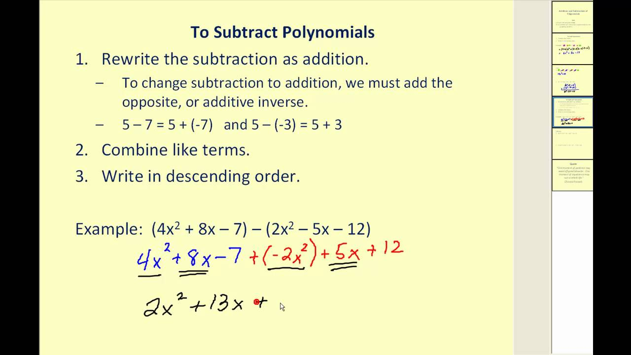 medium resolution of Adding And Subtracting Polynomials (video lessons