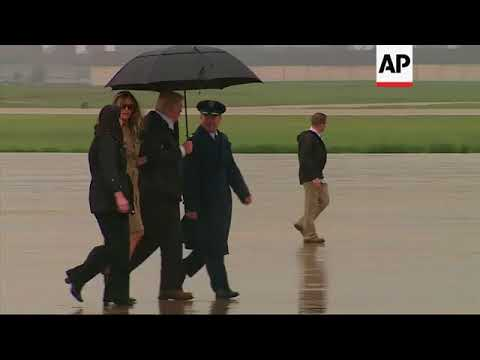 Trump leaves to visit flood victims in Houston