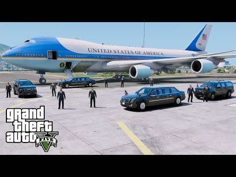 GTA 5 Presidential Mod - Air Force One Flying President Trump From California To Washington D.C.